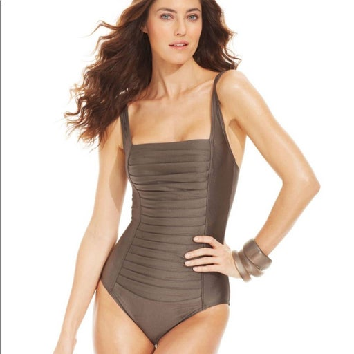 Calvin Klein Pleated Ruched Front Suit.