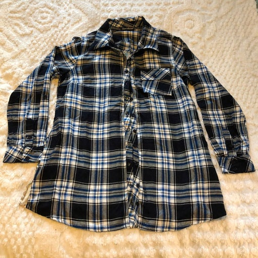 Tolani Collection, Blue/white/black plaid Flannel with floral back panel, small