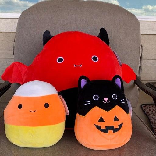 "Squishmallow halloween bundle 16"" Dante, 8"" autumn pumpkin, 8"" cannon candy corn"