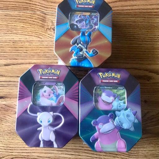 Pokémon V Forces Tins Complete Set Mew, Slowbro, Lucario Pokemon Cards