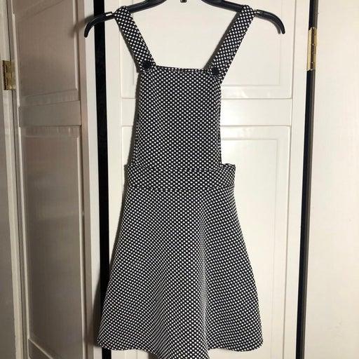 Dolls Kill Black White Checker Overall Pinafore Dress