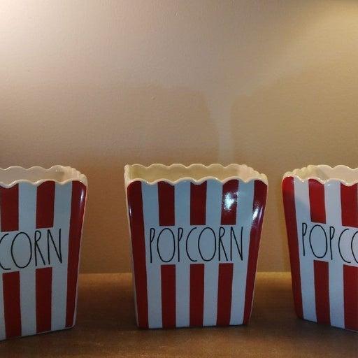 (3) Rae Dunn Ceramic Popcorn Buckets VHT