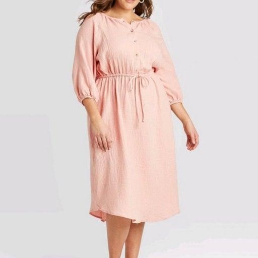 Womens Long Sleeve Gauze Linen Dress