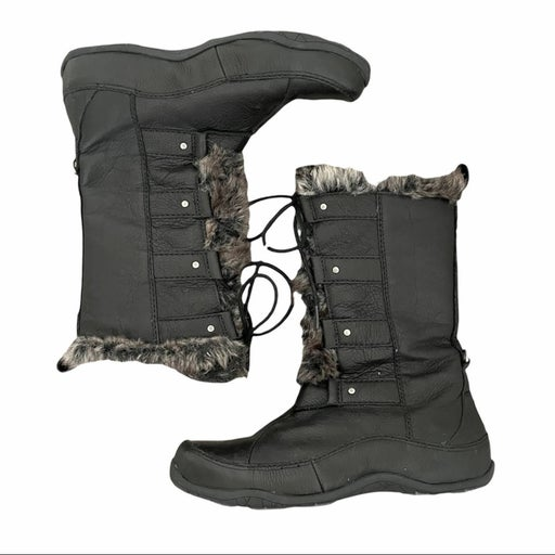 The North Face Abby IV Luxe Black Leather Winter Snow Lace Up Boots with Fur 8