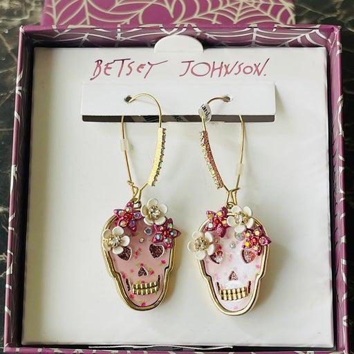 Betsey Johnson Cute Halloween Skull Flower Earring