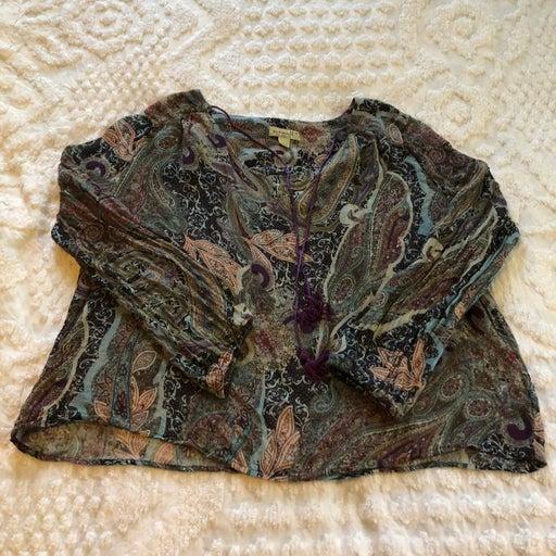 One World purple paisley top, size medium, tie neckline