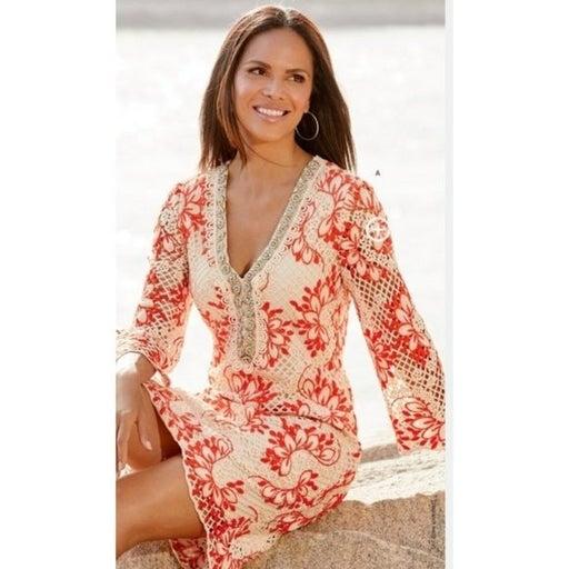 NEW Boston Proper Embellished Crochet Dress Size Small Orange White