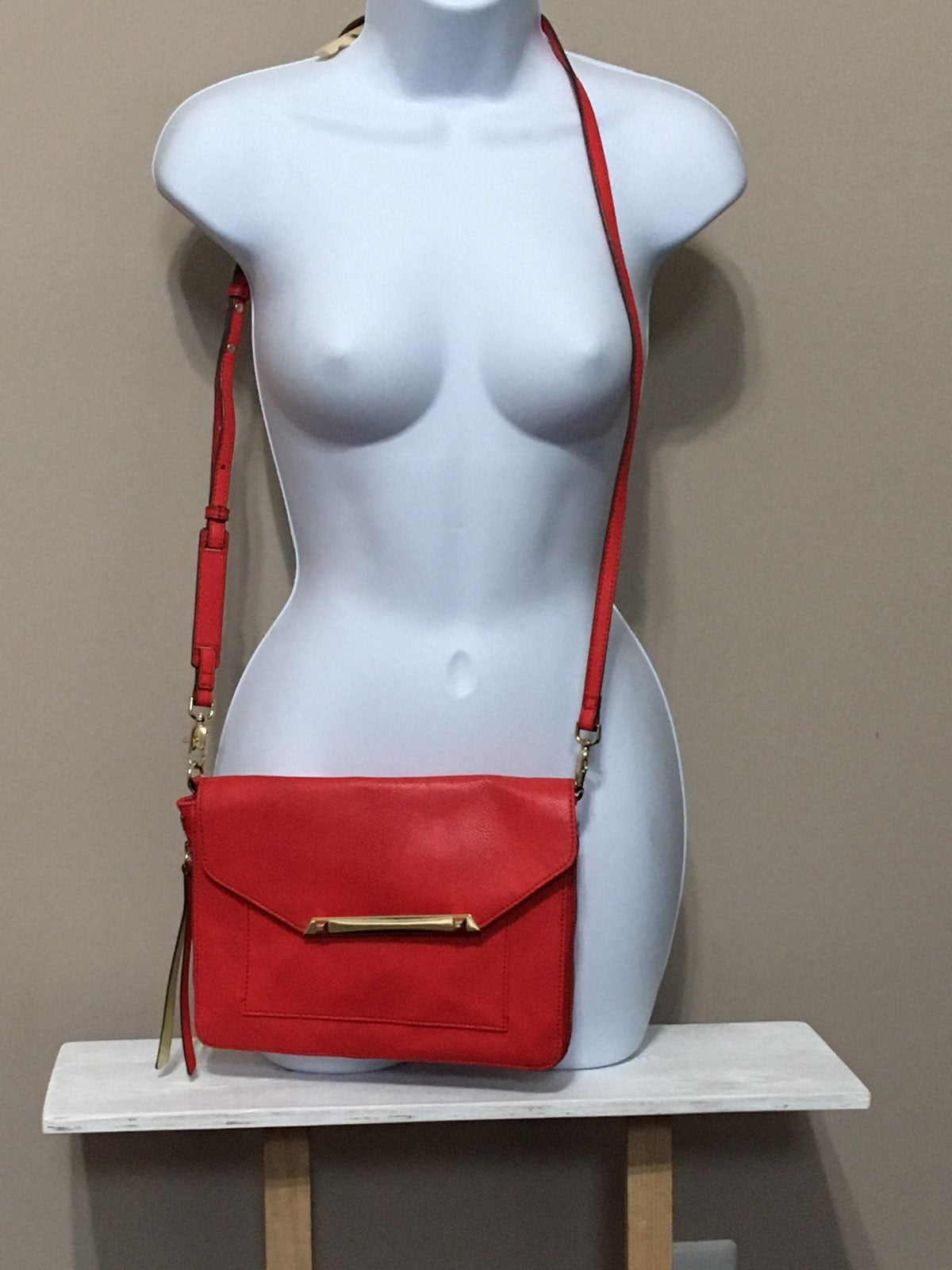 Red Orage Leather Crossbody Bag