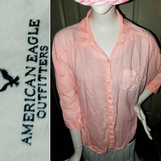 American Eagle Beachy Button-up Shirt