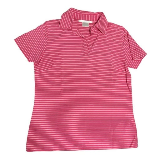 Nike Golf Woman's Pink Striped Short Sleeve Polo Shirt Sz S