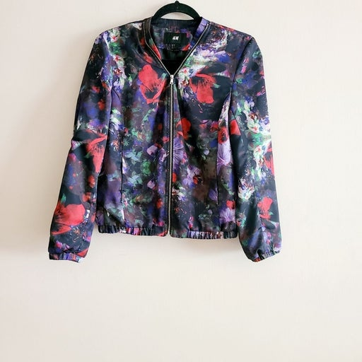 H&M Black Floral Jacket Size 6