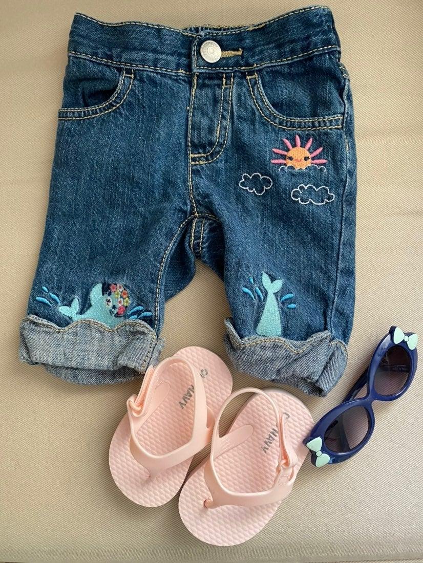 Gymboree 6-12 month jeans; sunglasses an