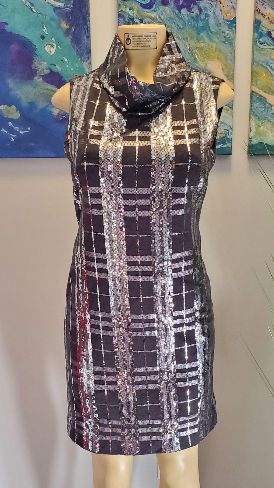 Per Se Plaid Sequin Dress Size 4