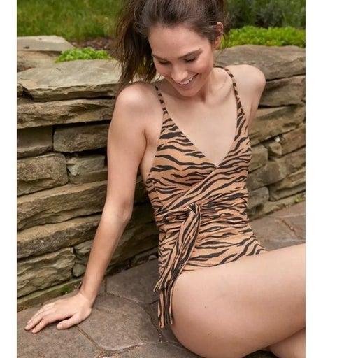 Aerie Pique Animal Print Wrap One Piece Swimsuit