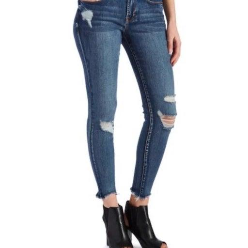Skinny Jeans high waisted raw hem xs