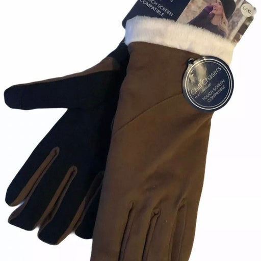 Cuddl Duds Women's Saddle Brown Gloves Chill Chaser Touch Screen
