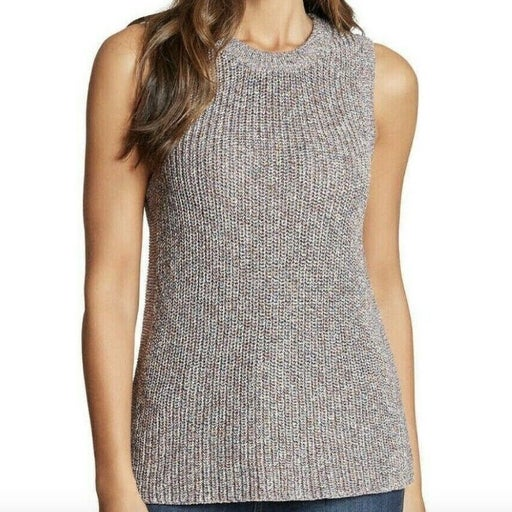 Anthropologie Ella Moss Size XL Grey Knit Sleeveless Sweater Top Ribbed Flecked