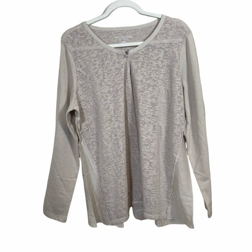 Soft Surroundings Mixed Media Long Sleeve Blouse Beige Cotton Silk Womens Large