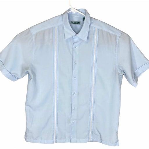 Cubavera Men's Short Sleeve Button Up Shirt Size Large Blue