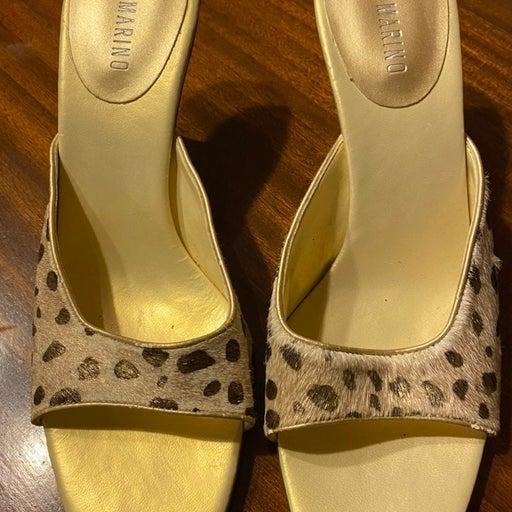 Ann Marino Leather Sandsls Sz 8M EUC