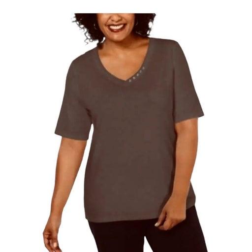 Karen Scott Plus 1X Elbow Sleeve Tee Shirt Top Brown Clay V-Neck Button Detail