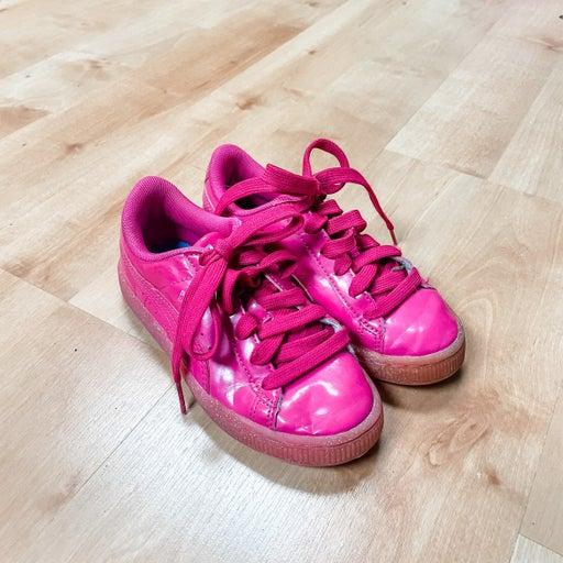 Girls pink glitter Puma sneakers
