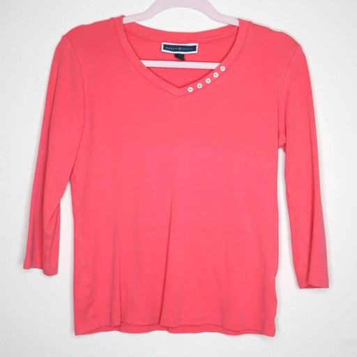 Karen Scott 3/4 Sleeve V-neck Top Size S
