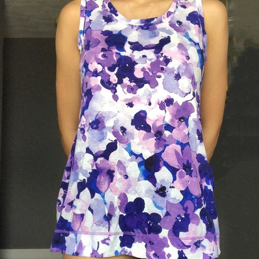 Womens floral purple tank top shirt