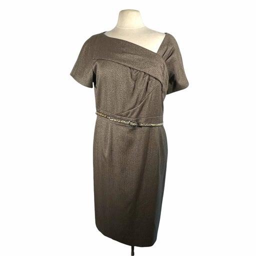 Tahari Arthur S Levine Womens Brown Short Sleeve Belted At Waist Dress Size 16