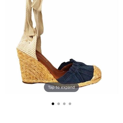Denim Platform Wedge ankle lace Sandal