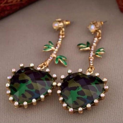 Betsey Johnson green leopard heart Earri