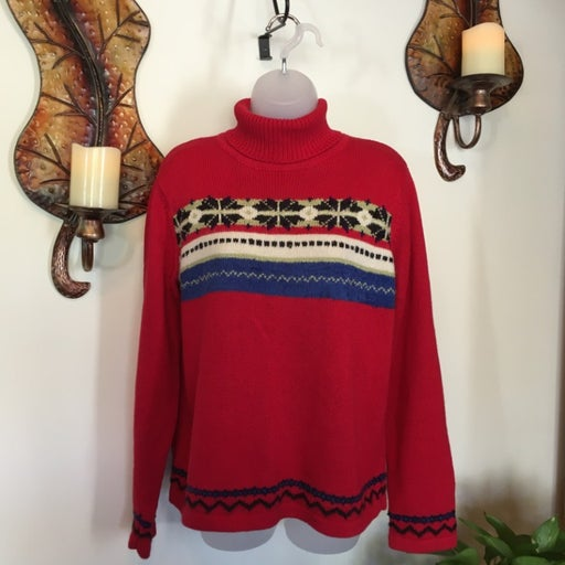 Red Crazy Horse Turtleneck Sweater