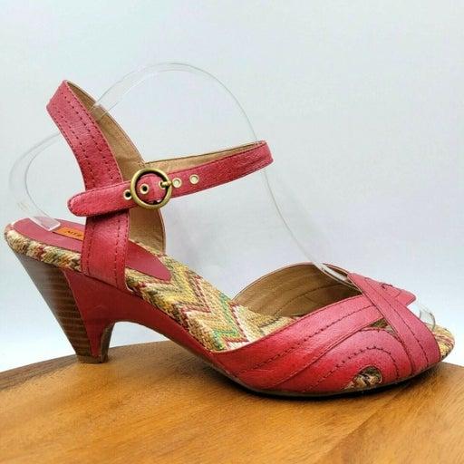 Miz Mooz Wilma Red Leather Strappy Ankle Strap Peep Toe Heel Sandals Women's 11