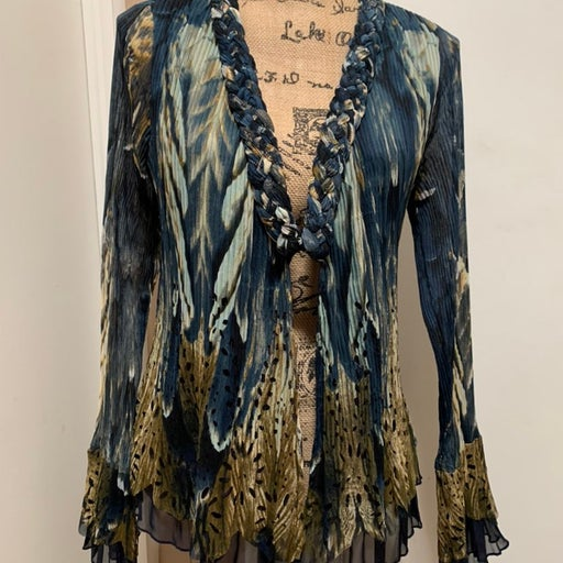 ALBERTO MAKALI Size M Blouse Shirt Top Long Sleeve