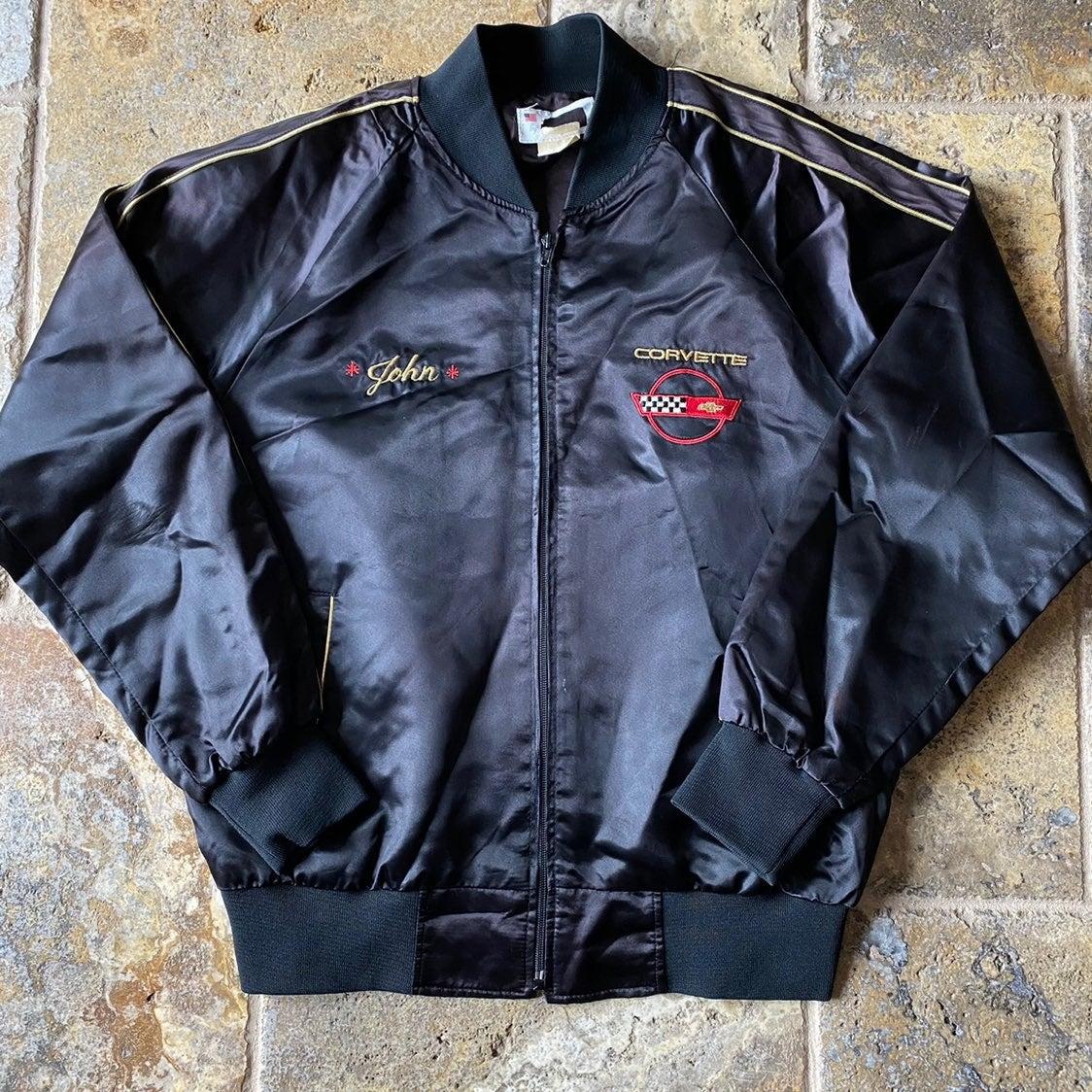 80s Corvette Black Satin Bomber Jacket