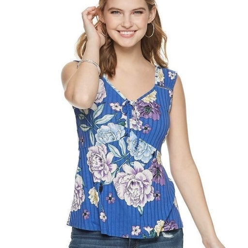 NEW Candie's Floral Ruched Tie Front Top