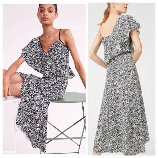 club monaco emmerillo robe ruffle midi dress nwt printed new midi
