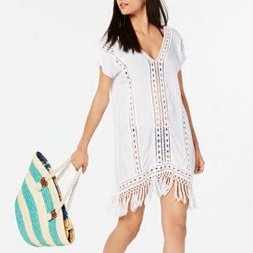 Raviya Tassel Fringe Ladder Embroidered V Neck Swim CoverUp Dress White Boho NEW