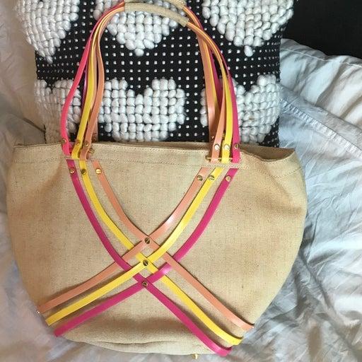 CROCS natural canvas handbag NWOT