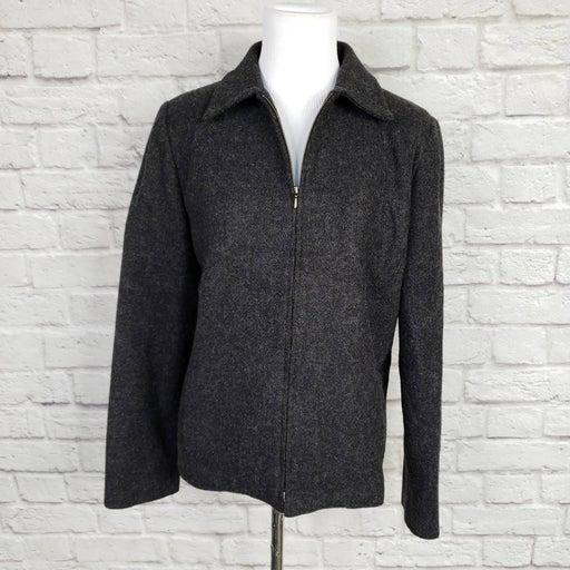 L. L. Bean Gray Wool Zippered Jacket Lined Sz 8