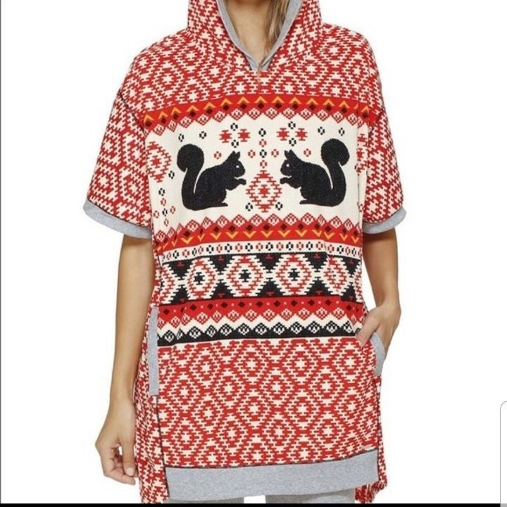 Kensie Microfleece Poncho Pajama  Top Sm