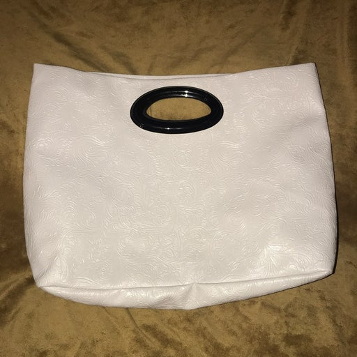 White Jessica Simple Large Clutch