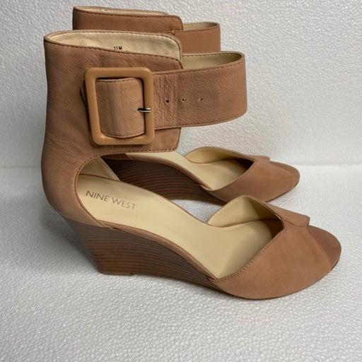 Nine West Tan Suede Ankle Strap Wedge Heel, Size 11M
