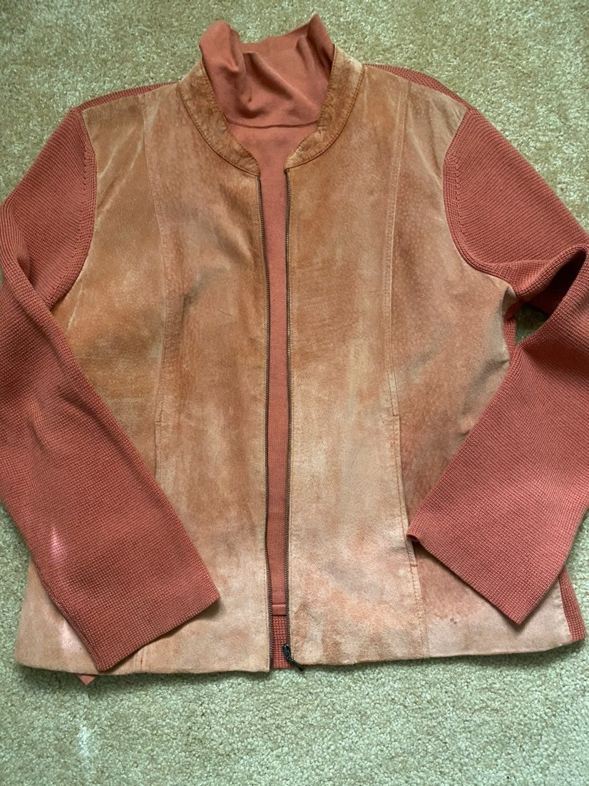 SIGRED OLSEN Large LEATHER/knit sweater