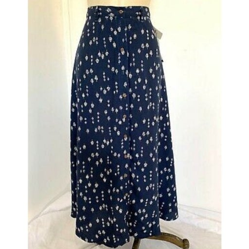 Navy Blue White Floral Button Skirt