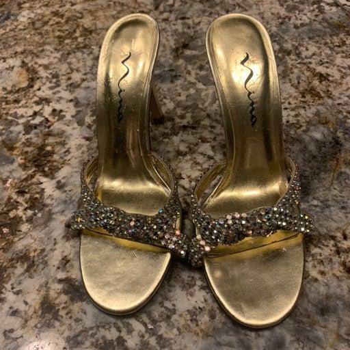 Nina rhinestone and gold heels sandals