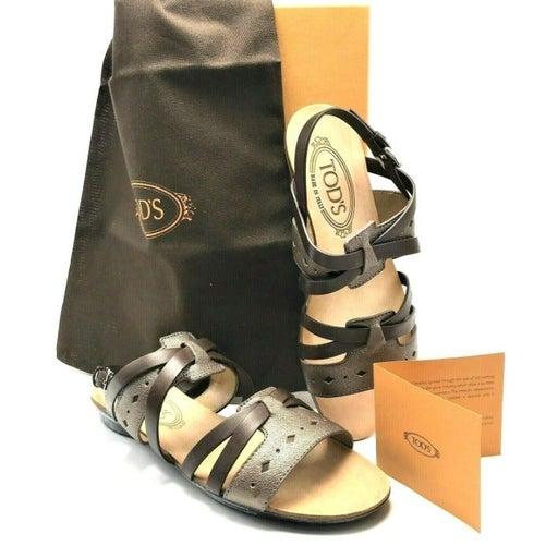 TOD'S Brown & Bronze Italian Flat Sandal