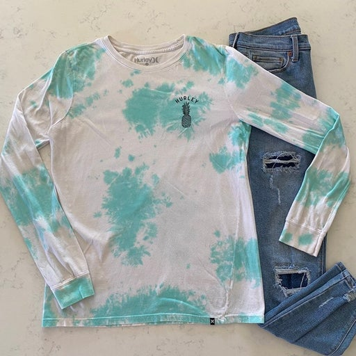 Hurley Tie Dye pineapple graphic long sleeve tee (ub)