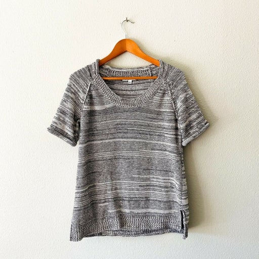 Cabi Space Gray White Black Short Sleeve Sweater Size L Cotton Blend
