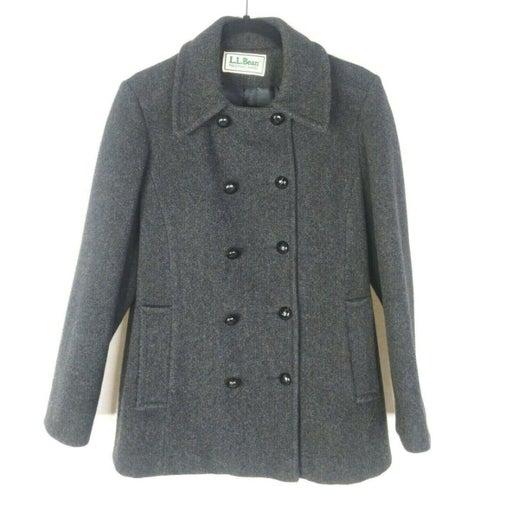Vintage LL Bean Wool Peacoat  Coat Womens 8 Wool Gray USA Made